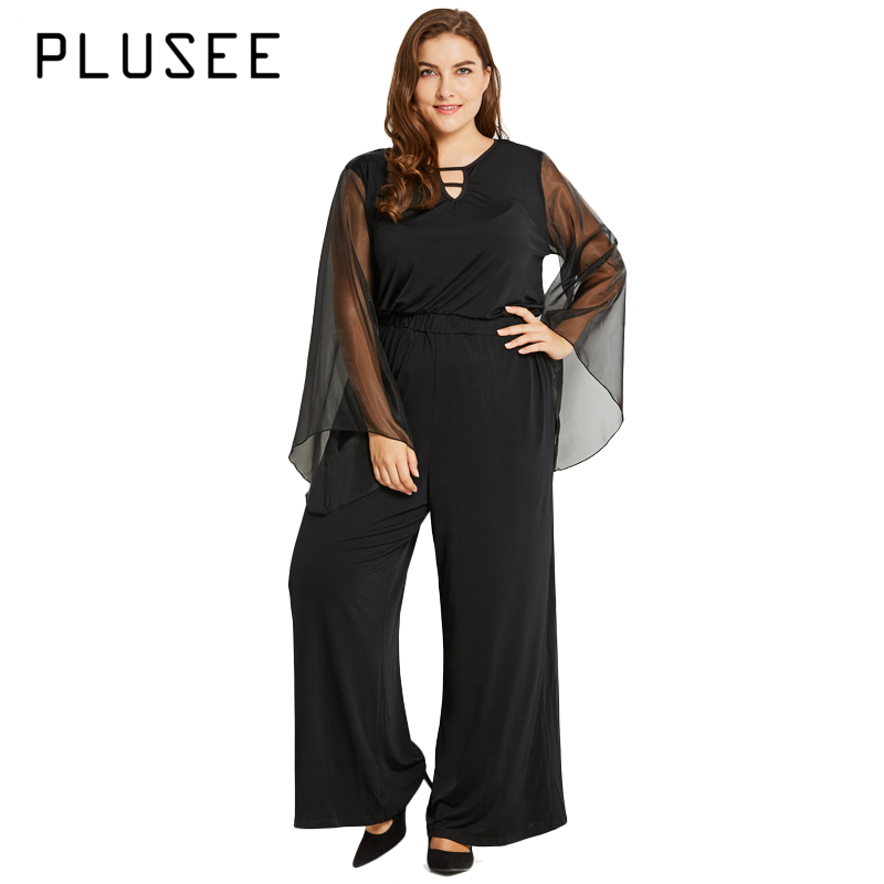 c38c7f935d4 Plusee Women Plus Size Fashion Long Jumpsuits Hollow Out Autumn Long Sleeve  Jumpsuit Black