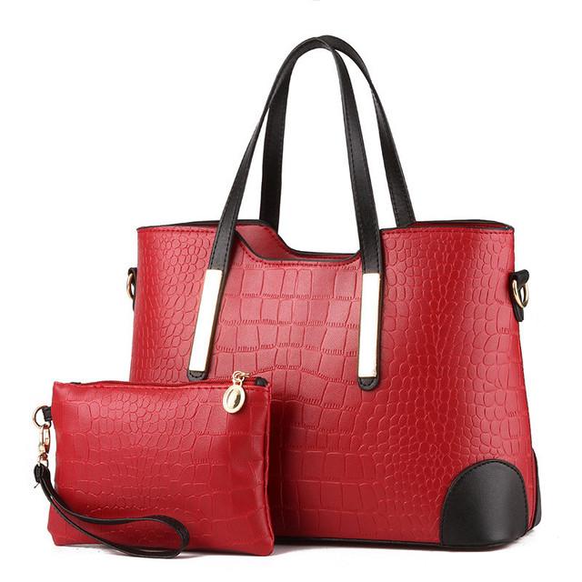 YINGPEI Women Bag Crocodile Pattern Composite Bag Vintage Women Messenger Bags Shoulder Handbag Purse Wallet Leather Handbags