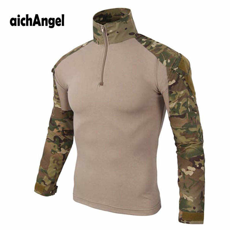 Militaire Leger T-Shirt Mannen Lange Mouw Camouflage Tactische Shirt US Army Combat Soldier Field Shirts
