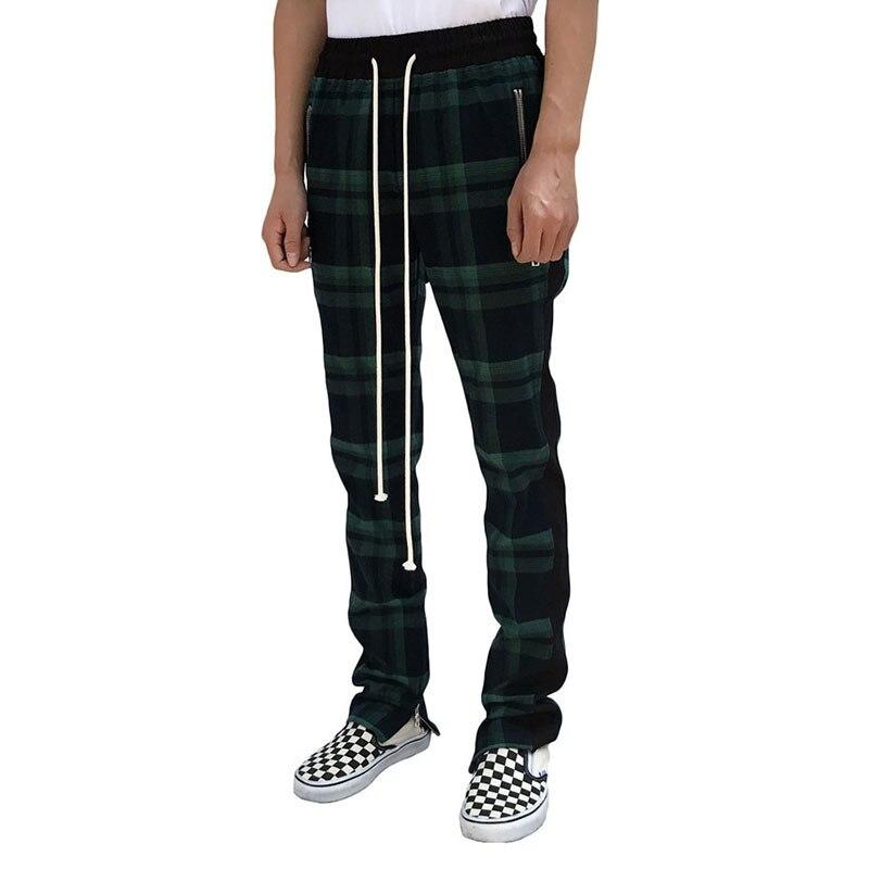 GYMLOCKER Scottish Lattice Joggers Sweatpants Men 2018 Justin Bieber Vintage Mens Joggers Pants Hip-hop Zip Plaid Track Pants