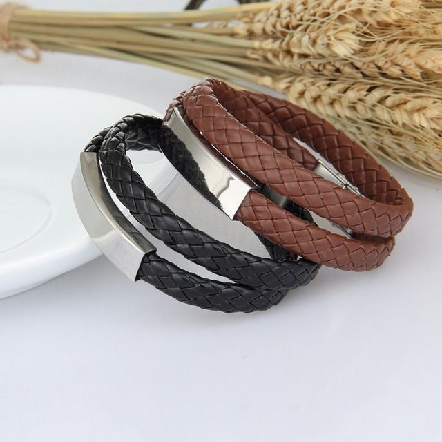 Double Layer Bracelets For Women Men Handmade Knitted Diy Leather Bracelet Name Bangles Anium Steel
