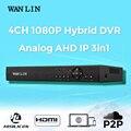 LIN WAN AHDH 4CH DVR Full HD 1080 P AHD DVR 4 canal Gravador de Vídeo Gravador De Vigilância Se Inscrever para 1080 P AHD Câmera IP 3IN1