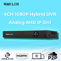 WAN LIN 4CH AHDH DVR Full HD 1080P AHD DVR 4 Channel Recorder Video Surveillance Recorder Register for 1080P AHD IP Camera 3IN1