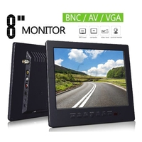 New 8 Inch LCD Monitor Professional Screen Portable VGA Monitor With BNC VGA AV Input Earphone