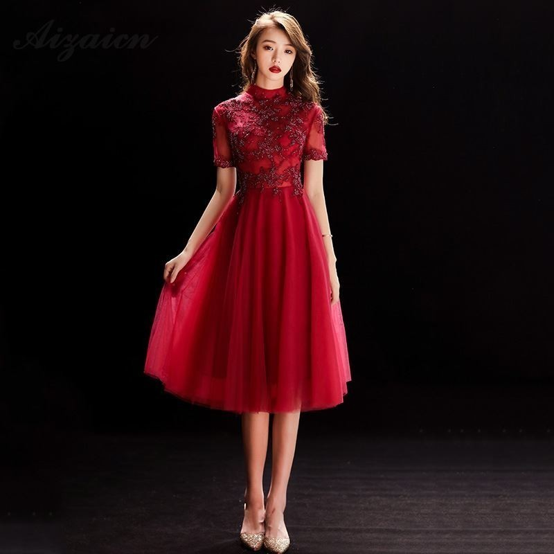 Chino Vestido De Boda Oriental Tradicional Vestidos Cheongsam Rojo Cordón Qipao Rouge Chinoise Oriental Femme Qi Pao