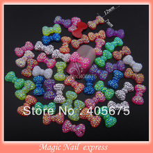 100pcs mixed 3d nail art bows Neon glitter bling nail resin bow ties flat back nail decoration DIY accessories for phone
