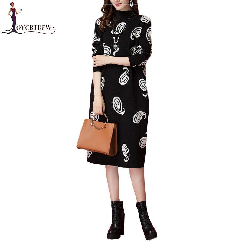 Femmes pull à col roulé tricot robe en cachemire 2019 printemps automne nouvelle robe de mode imprimer pull en vrac robe femme hiver NO653 - 2