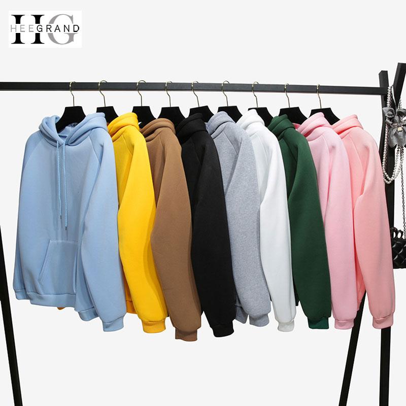 HEE GRAND 2019 Spring New Long Sleeves Flocking Hoodies Solid Girls' Pink Pullovers Hooded Tops Women Hooded Sweatshirts WWW1008