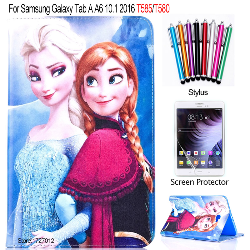 Fashion Cartoon Kids PU Leather Case For Samsung Galaxy Tab A 10.1 2016 SM-T580 T585 T580N Smart Tablet Cover + screen protector