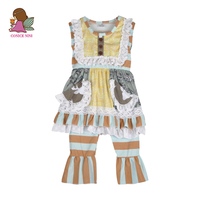 Factory Direct 2017 Summer Style Girls Boutique Clothing Set Lace With Pocket Patchwork Striped Ruffle