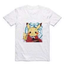 White Modal Pokemon T Summer New Pikachu/Deadpool Cute Pattern Round Neck Mens Casual Top Gift
