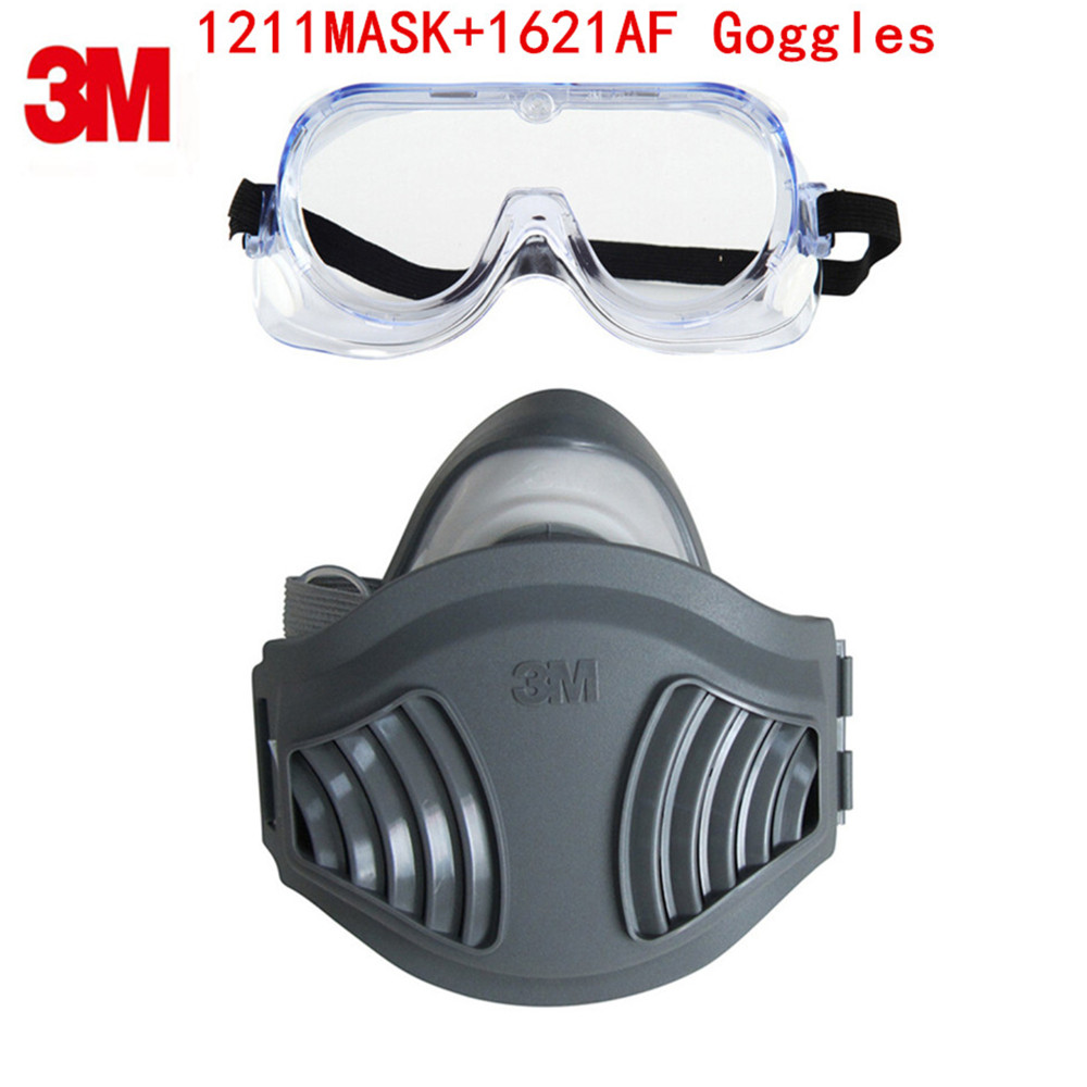3M 1211+1621AF Dust Mask Respirator Set KN90 Mask with Goggles Anti-dust gas Anti-fog And Haze PM2.5 Protective Mask Suit new respirator gas masks 7 piece suit dust proof spraying anti fog and haze anti gas spray respirator masks advanced silicone