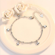TJP Latest Female Heart Bracelets Jewelry For Girl Party Accessories Lady Fashion 925 Sterling Silver Anklets Women