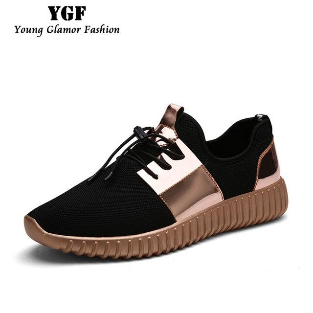 Мужская Обувь Повседневная 2016 Мода Воздуха Mesh Глянцевый Золото Взрослых Мужская Тренеры Открытый Дышащий на шнурках Легкую Обувь Унисекс