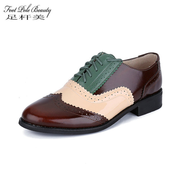 312767081e518 US $38.41 49% OFF|Brand shoes Brogues oxford spring autumn Genuine Leather  Large size 33 46 yards women Handmade Shoes Vintage oxford shoes women -in  ...