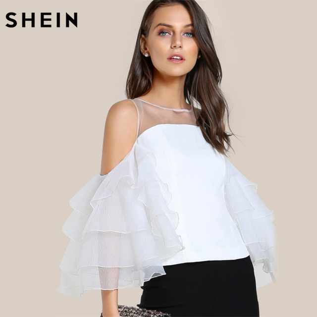 49d5d0c76e SHEIN Contrast Mesh Cut Out Layered Ruffle Sleeve Top White Three Quarter  Length Sleeve Zipper Back