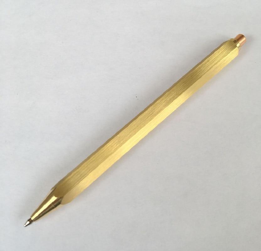 New Automatic hexagonal Brass Pen press-type Copper Pen Ballpoint Pen 5pcs/lot wholesale price hand polished brass pen hexagonal shape automatic copper pen 100pcs lot