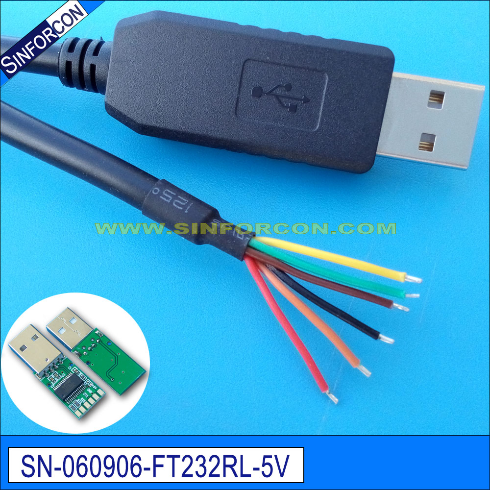 Ftdi ft232r usb uart ttl 5v cable adaptador de extremo de cable para cable de flash ttl-232r-5v