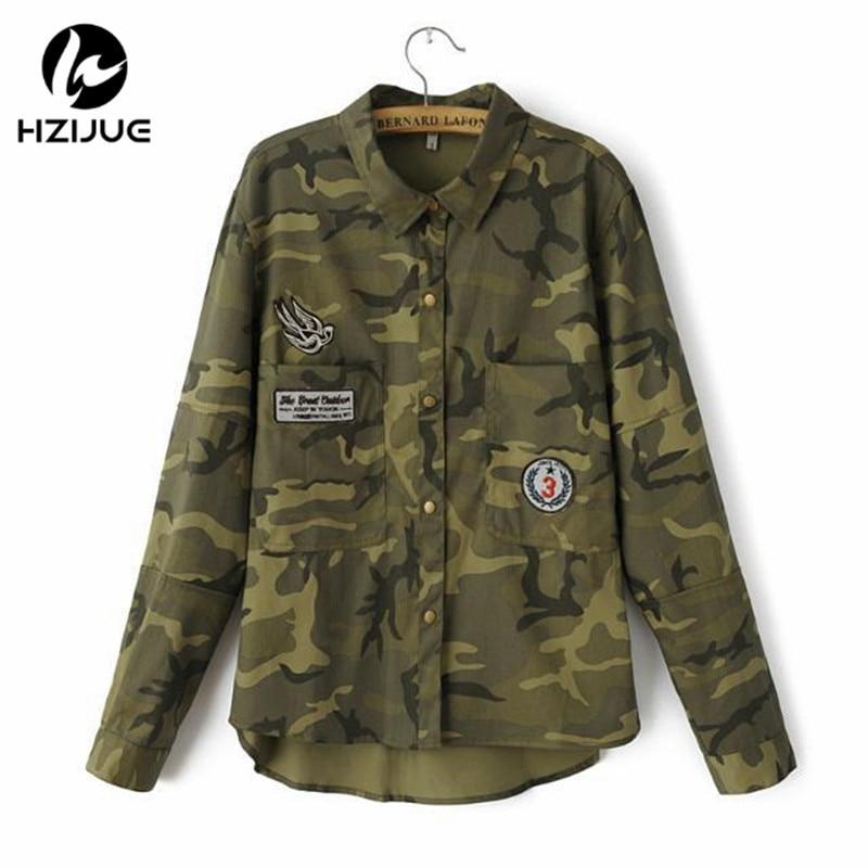 HZIJUE 2018 Moda chaqueta de manga larga militar Escudo Mujeres Verde Chaquetas militares Delgado bordado Chaqueta de las mujeres Blusas Abrigos