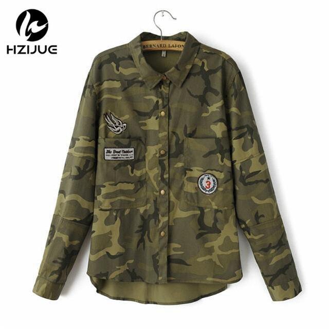 480ad6a065 HZIJUE 2018 Moda Manga Comprida chaqueta Jaqueta militar Casaco Mulheres  Jaquetas Militares Verdes Fino Bordado Mulheres