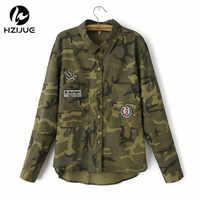 HZIJUE 2018 moda chaqueta de manga larga chaqueta militar para mujer Chaquetas militares verdes Slim bordadas mujeres blusas abrigos