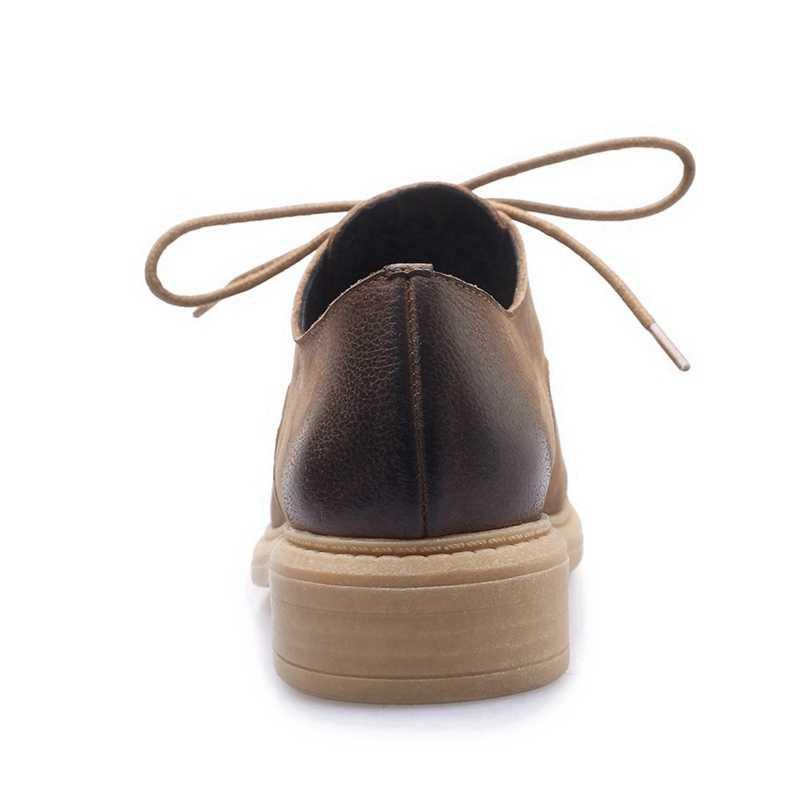ORCHA LISA/женские оксфорды; обувь из коровьей кожи; походная обувь с перфорацией типа «броги»; Рабочая обувь на шнуровке в стиле ретро; цвет черный, коричневый; Лидер продаж; C1144