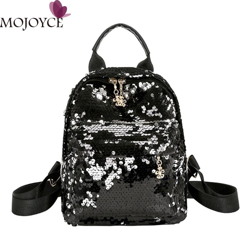 d08f486ff6a1 Уличный стиль блестящие блёстки кожа для женщин рюкзак повседневное обувь  для девочек маленькая школьная дорожная Вечерние Особенности: