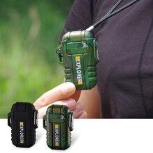 Наружная двойная дуговая электронная USB Зажигалка, портативная прочная водонепроницаемая Зажигалка для прикуривателя с безопасной пряжкой для исследователей