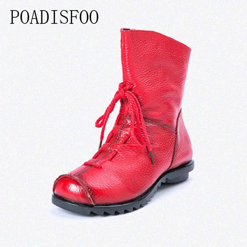 4199258d1 POADISFOO/женские зимние ботинки ручной работы из натуральной кожи,  коллекция 2018 г.,