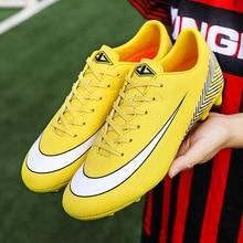 Men Football Soccer Boots Athletic Gym Soccer Sport Shoes 2019 TF Long Spikes Cleats Training Football Sneaker Man Turf Futsal цена