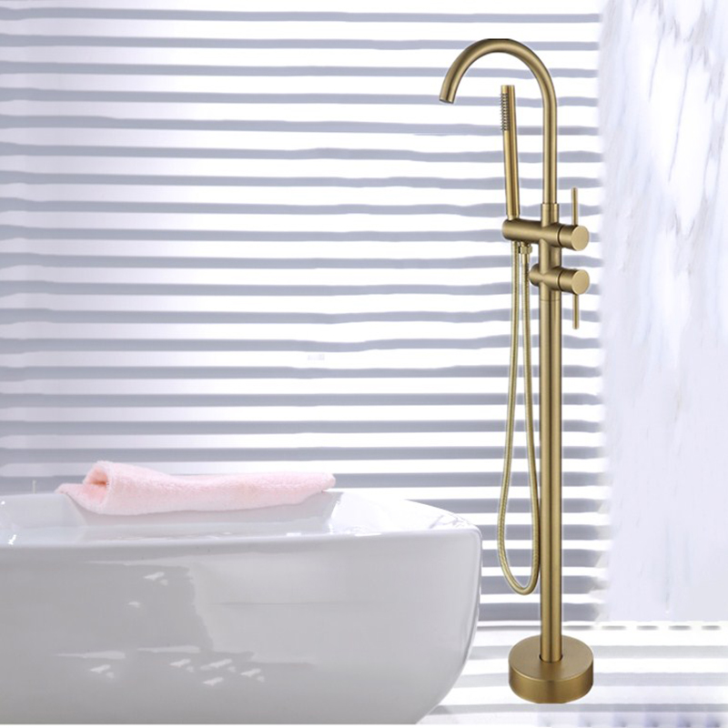 Роскошные для ванной кран для ванны раковины напольный матовый золото Смесители отдельно стоящий горячей и холодной набор для душа ручной