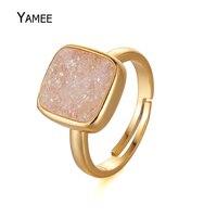 Trendy 12 m Vierkante Opaal Druzy Crystal Quart Ring Natuursteen 24 k Goud Plated Verstelbare Vrouwen Gift Charm ringen Sieraden