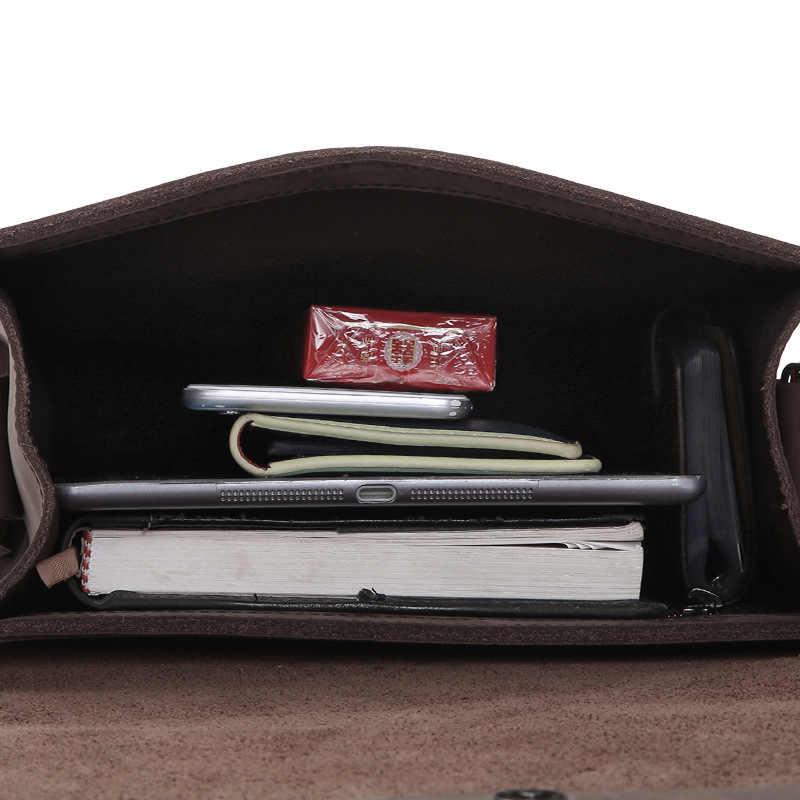 Alta calidad Crazy Horse cuero Vintage Hombre pequeño maletín bolsa Vertical negocio Pack lujo hombres Cruz bolso de hombro para iPad