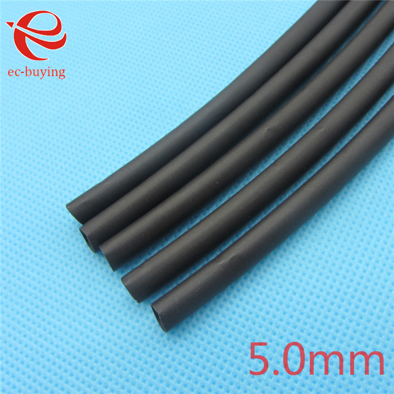 1m Heat Shrink Tubing Insulation Sleeving Heatshrink Tubing 125 Celsius Black Tube Wire Wrap Cable Kit Inner Diameter 5mm