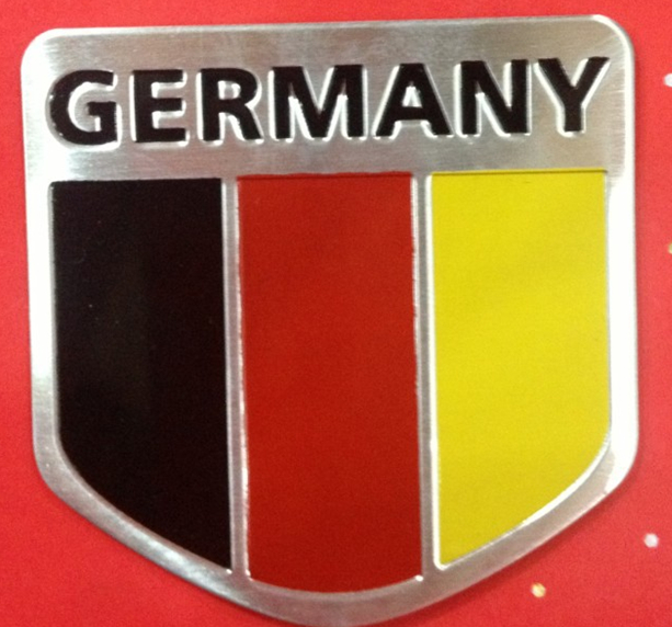 YAQUICKA 1pc Germany National Flag Side Fender Trunk Tail Stickers Aluminum Emblem Badge For Volkswage Audi Bmw Benz etc ...