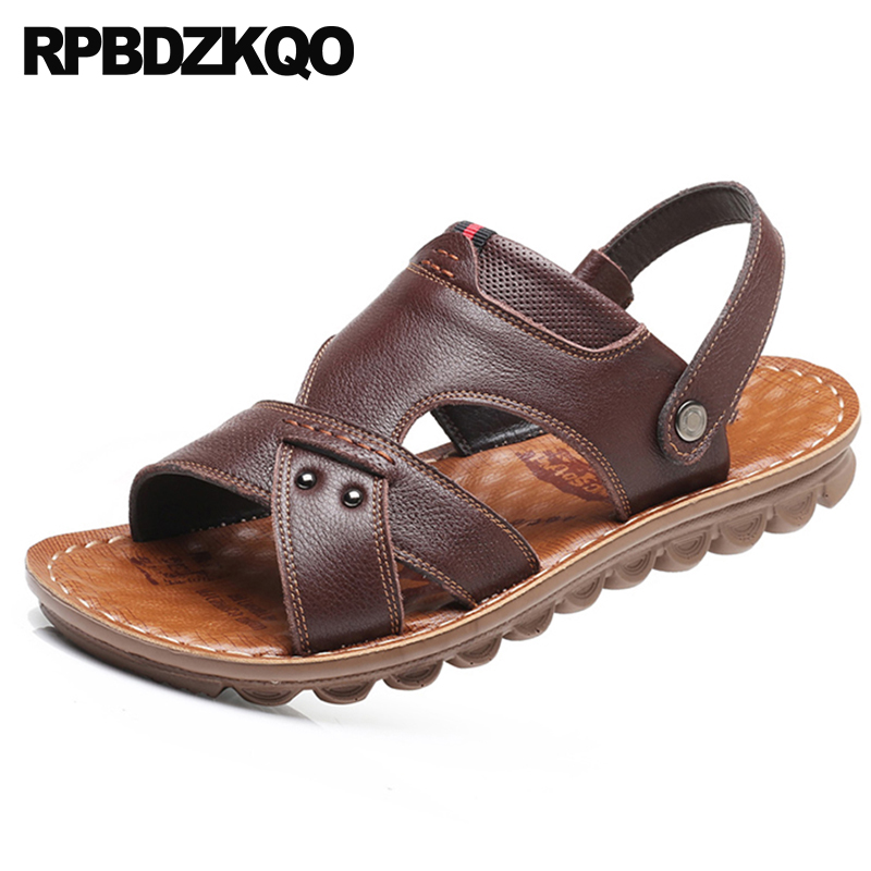 Slides 2018 Shoes Casual Fashion Slippers Men Sandals Leather Summer Designer Strap Outdoor Water Flat Waterproof Soft Beach