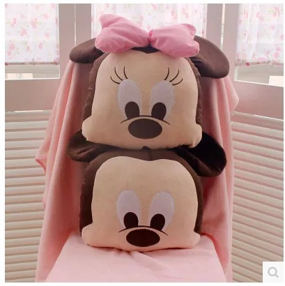 Plush blanket 1pc 150cm soft Minnie mickey lovely rest office air conditioning cushion stuffed toy gift for kids baby 1pc 33cm 30cm mickey mouse and minnie plush pillow cushion cartoon stuffed pillow car cushion soft toy for gift