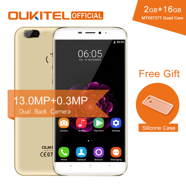 "Oukitel U20 Plus 5.5"" Smartphone 2G RAM+16G ROM Fingerprint MTK6737T Quad Core Dual Camera 13MP 3300mAh Android 6.0 Mobile Phone"