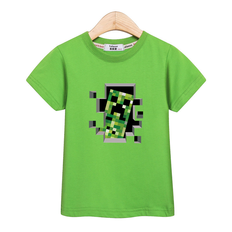 Boys New Summer Tops Cartoon Minecraft Print Tees 100% Cotton T-shirt Short-Sleeved Kids Clothes Baby Boy 3D Casual shirt 3-14Y cotton bull and letters print round neck short sleeve t shirt