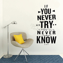 If You Never Try Quotes Wall Sticker Inspirational Quote Lettering Decals Removable Motivational Art Decor Q323