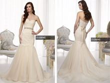 new design crystal sashes a-line champagne 2015 sexy sweetheart vestido de noiva casamento Bridal gown appliques wedding dress