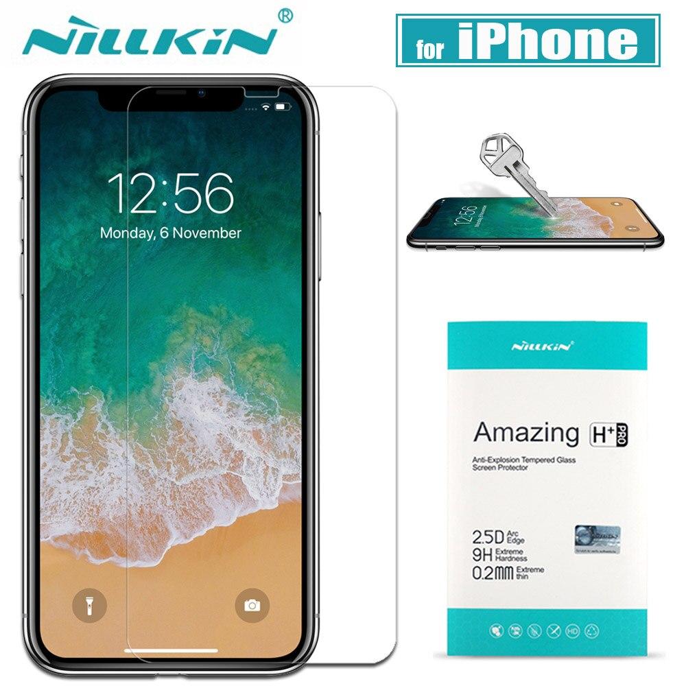 Nillkin Max Protetor de Tela de Vidro para o iphone X Xr Xs 9H Vidro Temperado De Proteção de Segurança no para o iPhone 8/7/6 S/6 Plus Nilkin