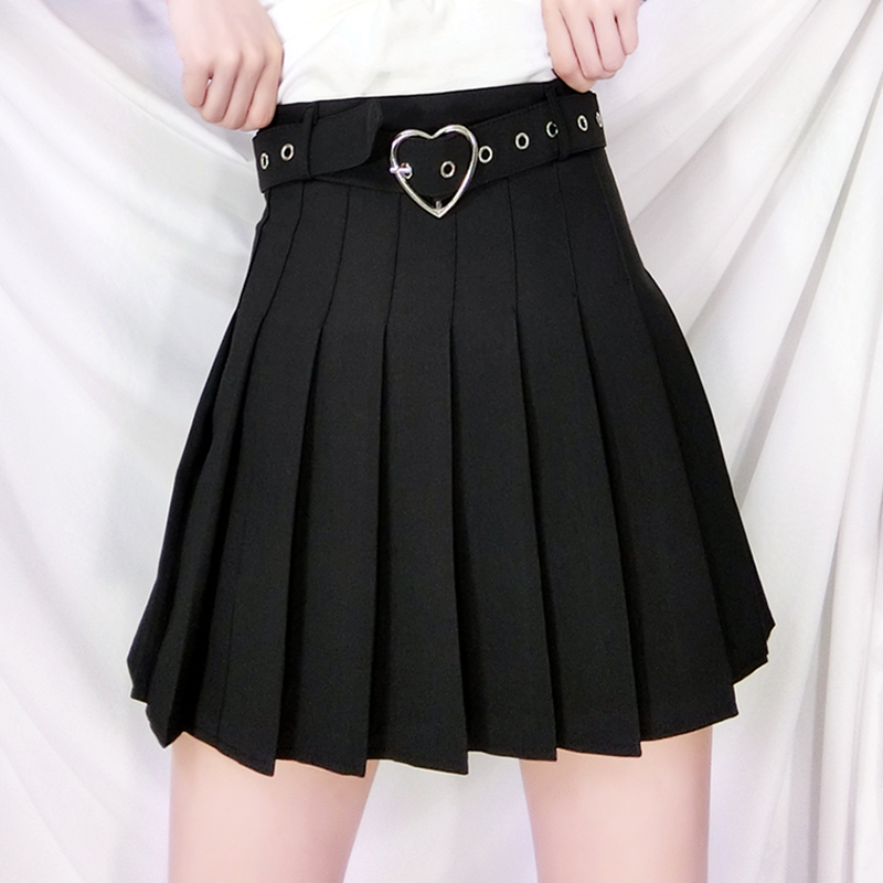 New Summer Lolita Cosplay Sexy Women Skirt Sweet Preppy Style Mini Pleated Skirt Plus Size Dance Skirt Matching Heart Belt