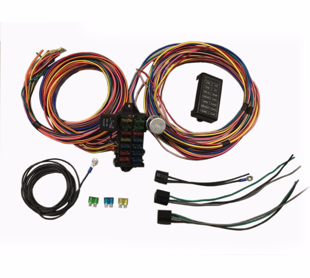 Street Rod Rat Universal 14 Fuse 12 Circuit Wiring System Harness In Fuses From Automobiles Motorcycles On Alibaba Group