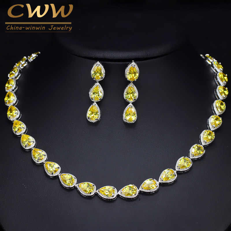 CWWZircons Trendy Dazzling Yellow Water Drop Cubic Zirconia Big Choker Necklace And Earring Set for Bridal Wedding Jewelry T133