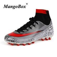 Latest Soccer Cleats Men Orange Green Sport Shoes Mens Original Football Boots Kids Outdoor Long Spike High Ankle