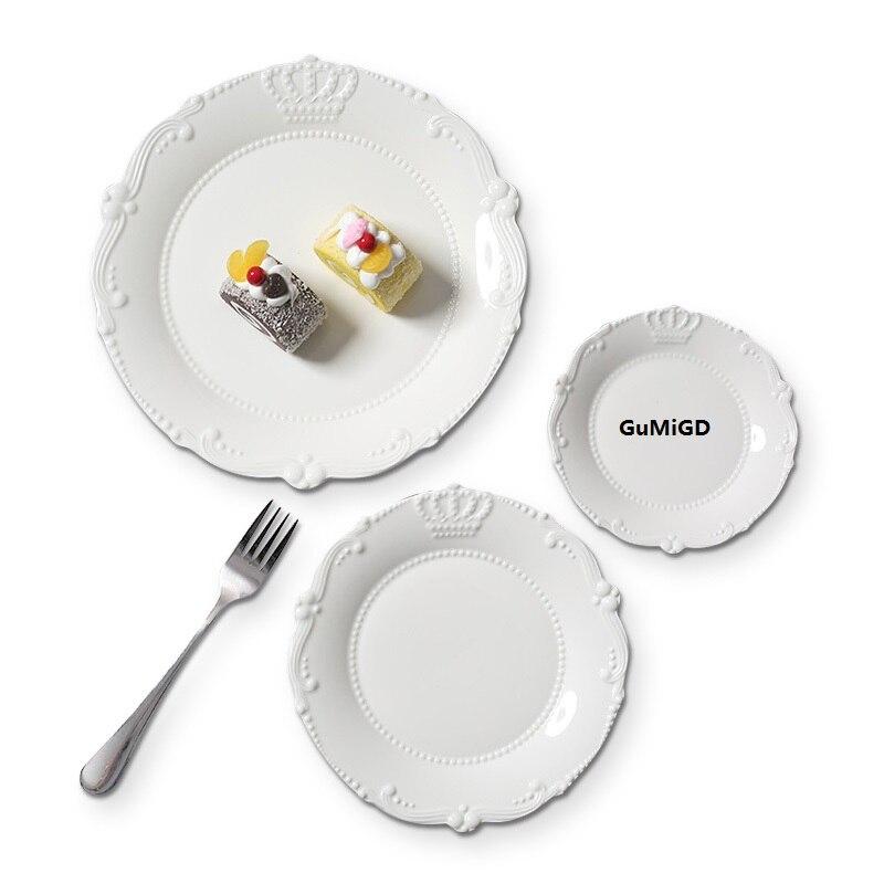 Céramique de relief de style guciEuropean, dentelle de couronne, assiette en céramique, plat à steak, assiette à gâteau, assiette de plats occidentaux I0inch + 8 inch + 6 inch