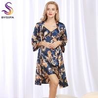Summer Ladies Dragon Robes Fashion Home Lounge Women Luxury Silk Nightgown Robes Set New Design Brand
