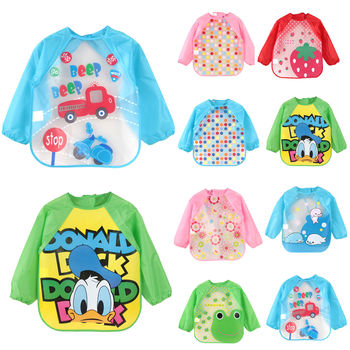 Cute Cartoon Animals Baby Bibs Waterproof Colorful Children Bib Full Sleeve Bibs Children Apron Long Sleeve Feeding Bibs 1