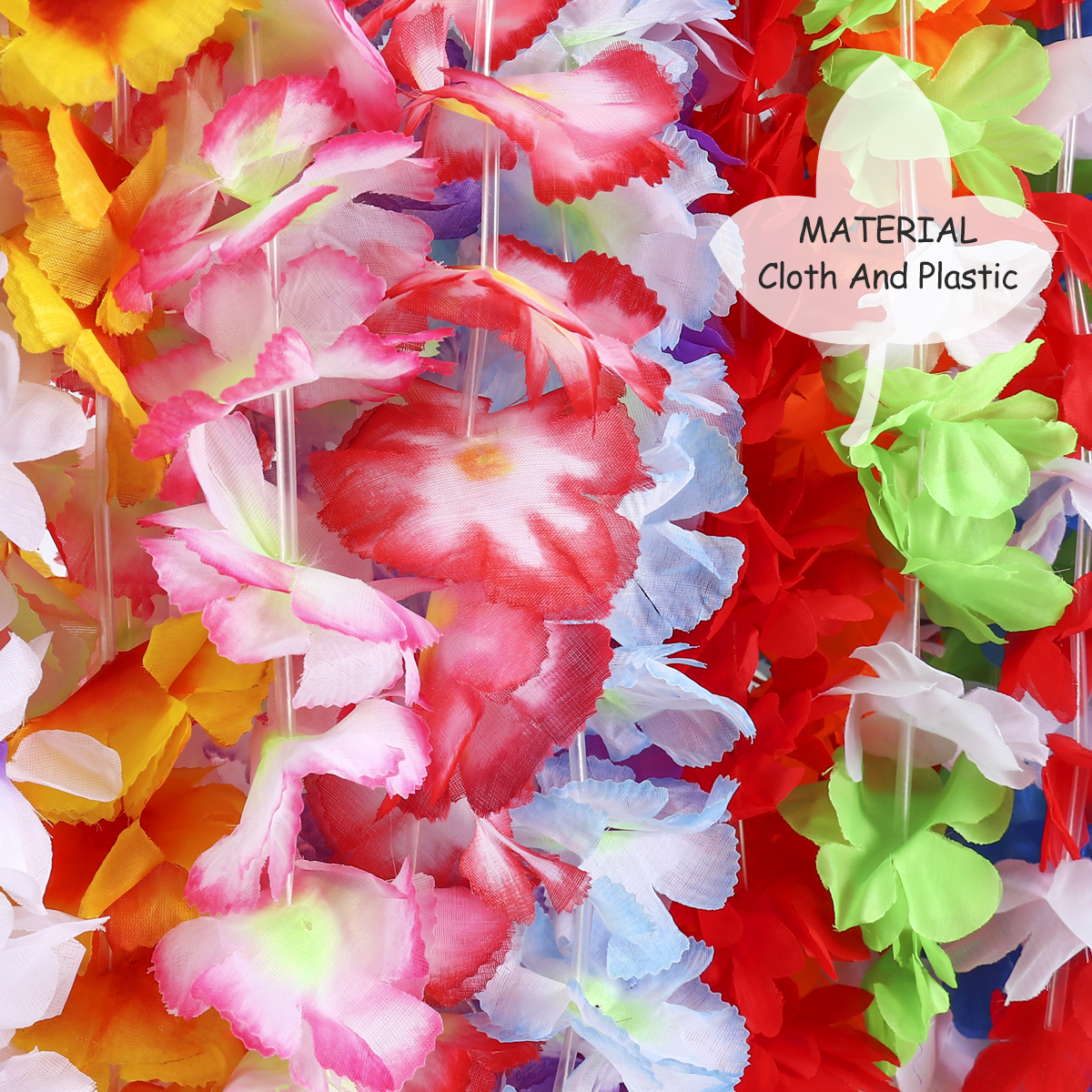 Bestoyard 48pcs hawaiian ruffled silk flower leis luau floral leis bestoyard 48pcs hawaiian ruffled silk flower leis luau floral leis for holiday wedding beach birthday decorationsrandom colors mightylinksfo